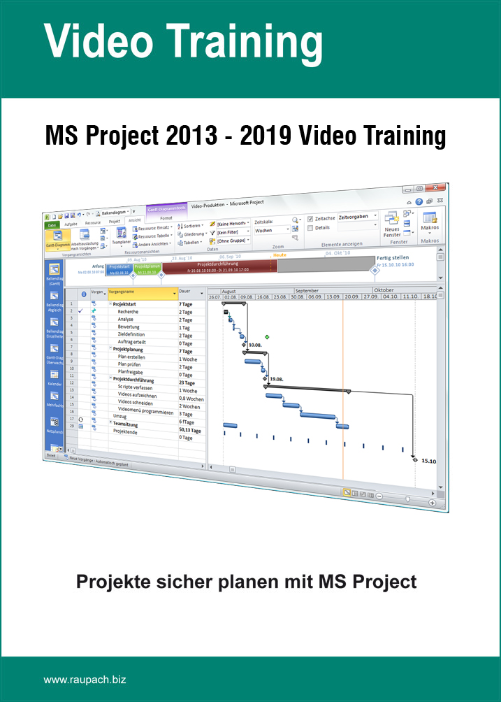 MS Project 2013 – 2019 Video Training  Dauer: 4 Stunden (Download)